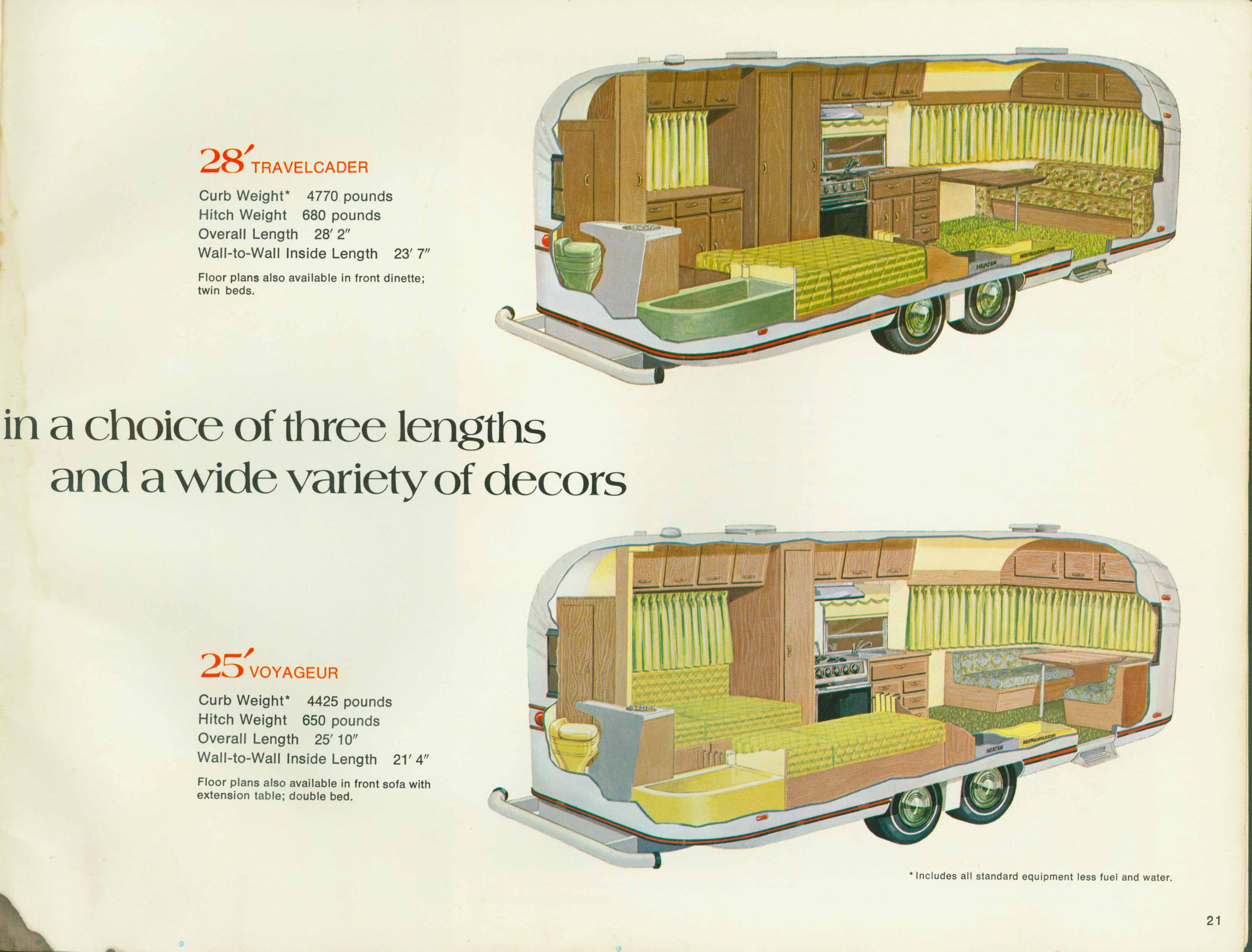 1972 Avion Travel Trailers  28 U0026 39  Travelcader With Optional Double Bed  Instead Of Two Singles